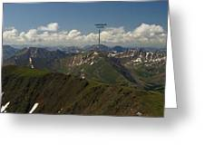 A Summit View Panorama With Peak Labels Greeting Card