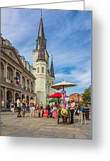 A Sunny Afternoon In Jackson Square Oil Greeting Card by Steve Harrington