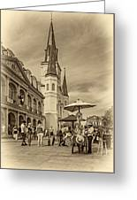 A Sunny Afternoon In Jackson Square Sepia Greeting Card