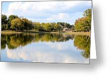 A Sunny Day's Reflections At The Lake House Greeting Card