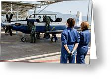 A T-6 Texan Trainer Of The Hellenic Air Greeting Card