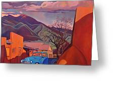 A Teal Truck In Taos Greeting Card