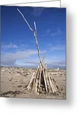 A Teepee Madeup Of Driftwood At Bandon Beach Greeting Card
