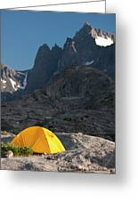A Tent Is Dwarfed By The High Peaks Greeting Card