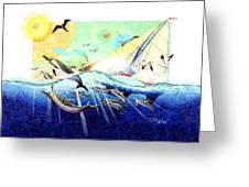 A Tern With The Dolphins Greeting Card