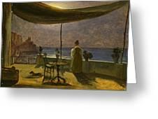 A Terrace In Amalfi In Moonlight Greeting Card
