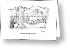 A Therapist Sits On A Swing Behind And Addresses Greeting Card