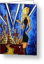 A Toast To The Little Black Dress By Madart Greeting Card