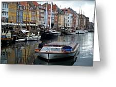 A Tour Boat At Nyhavn Greeting Card