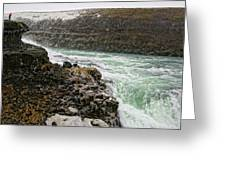 A Tourist Takes A Photo At Gullfoss Greeting Card