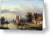 A Town By The River Greeting Card