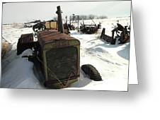 A Tractor In The Snow Greeting Card