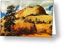 A Tree And Orange Hill Greeting Card