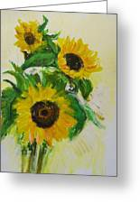 A Trio Of Sunflowers Greeting Card