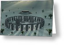 A Ufo & Its Alien Crew Visiting Greeting Card