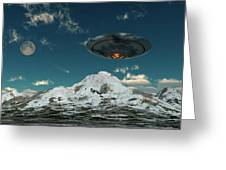 A Ufo Flying Over A Mountain Range Greeting Card