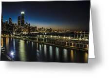 A Unique Look At The Chicago Skyline At Dusk Greeting Card
