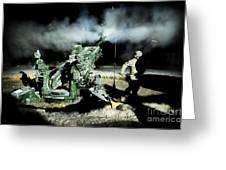 A United States Gun Crew Fire Illumination Rounds At Forward Operating Base Hadrian Greeting Card