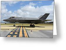 A U.s. Air Force F-35a Taxiing At Eglin Greeting Card