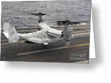 A V-22 Osprey Lands Aboard The Aircraft Greeting Card