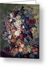 A Vase Of Flowers With Fruit Greeting Card