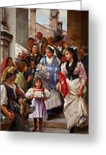 A Venetian Christening Party, 1896 Greeting Card by Henry Woods