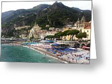 A View Of Amalfi Greeting Card by H Hoffman