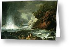 A View Of Cape Stephens In Cook's Straits With Waterspout Greeting Card