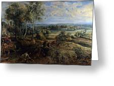 A View Of Het Steen In The Early Morning Greeting Card by Peter Paul Rubens