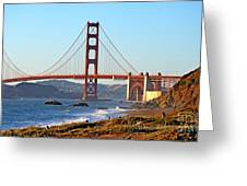 A View Of The Golden Gate Bridge From Baker's Beach  Greeting Card