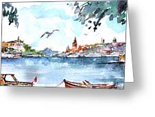 A View Of The Historical Peninsula From Uskudar - Istanbul Greeting Card