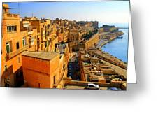 A View Of Valletta's Waterfront Greeting Card