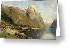 A Village By A Fjord Greeting Card