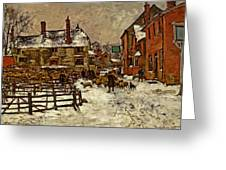 A Village In The Snow Greeting Card