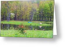 A Waddle In The Meadow - Oil Painting    Greeting Card