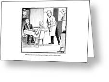 A Waiter Offers Pepper To Two Patrons. His Pepper Greeting Card