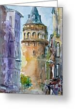 A Walk Around Galata Tower - Istanbul Greeting Card