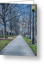 A Walk On A Sidewalk Street Alley Greeting Card