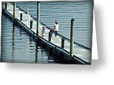 A Walk On The Pier Greeting Card