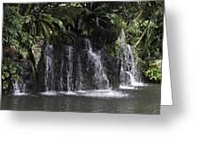 A Waterfall As Part Of An Exhibit Inside The Jurong Bird Park Greeting Card