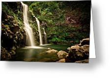 A Waterfall In Hana, Maui Greeting Card