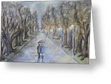 A Wet Evening Stroll Greeting Card