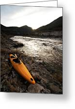 A Whitewater Kayak Rests On The Shore Greeting Card