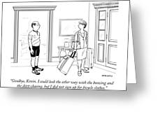 A Wife With Luggage Leaves Her Husband Greeting Card