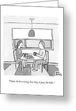A Wife Writing Checks Greeting Card