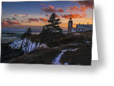 A Winter Dusk At West Quoddy Greeting Card
