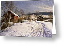 A Winter Landscape Lillehammer Greeting Card by Peder Monsted