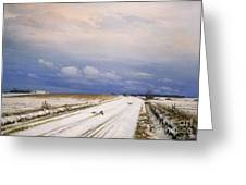 A Winter Landscape With A Horse And Cart Greeting Card