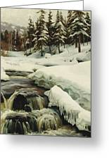 A Winter Landscape With A Mountain Torrent Greeting Card