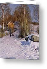 A Winter Landscape With Children Sledging Greeting Card